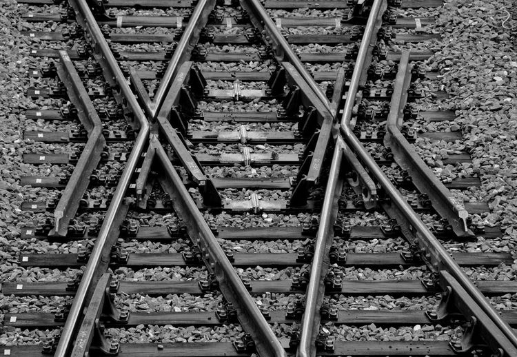 High angle view of railroad tracks