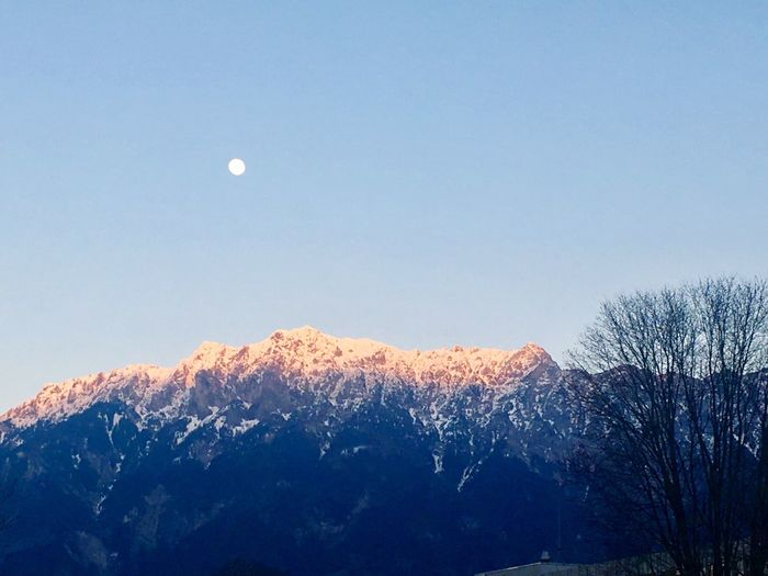 Beauty In Nature Moon Scenics Nature Tranquility Tranquil Scene Blue Sky Outdoors No People Snow Cold Temperature Winter Mountain Low Angle View Half Moon Tree Day EyeEm EyeEm Best Shots