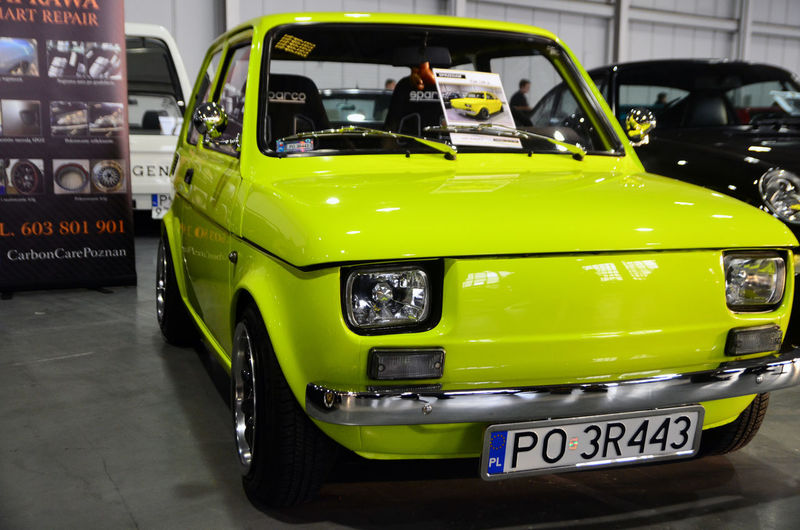 Fiat Car Car Expo Close-up Land Vehicle Maluch No People Yellow