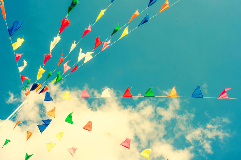 Bunting Celebration Day Flag Flying Hanging Low Angle View Multi Colored Nature No People Outdoors Sky