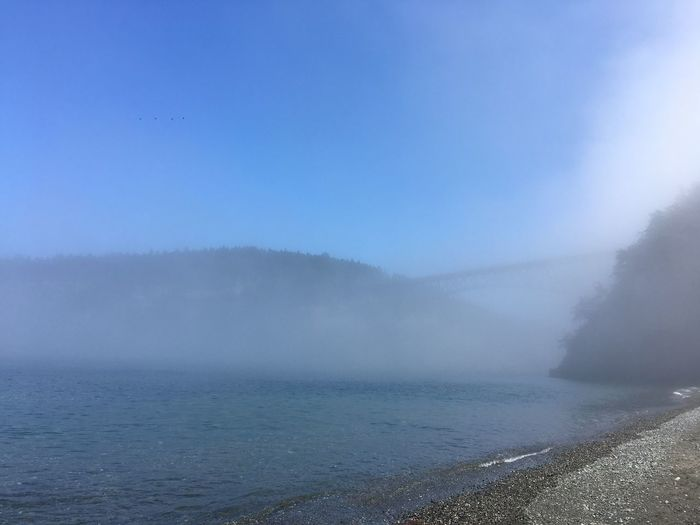 Water Beauty In Nature Nature Sea Scenics Outdoors No People Clear Sky Day Tranquil Scene Tranquility Blue Horizon Over Water Power In Nature Sky Wave Bridge Deception Pass Deception In The Fog Foggy Tranquility Beauty In Nature Hazy  Water Best Place On Earth