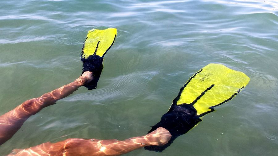 Low Section Of Person Wearing Diving Flippers While Swimming In Sea