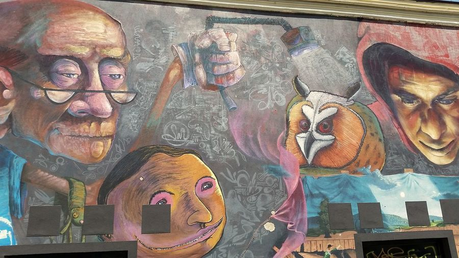 Entire side of a building covered in graffiti in a side street of Plovdiv, Bulgaria Exploring Style Multi Colored Travel Destinations Outdoors No People Urban Graffiti Wall Art Cartoons Animation Plovdiv Bulgaria Crime Antisocial