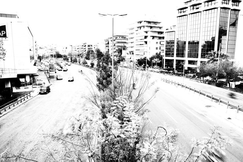 """""""The highway"""" Blackandwhite Blackandwhite Photography Road Eye4photography  EyeEm Gallery Malephotographerofthemonth Highway The Week on EyeEm View From Above View From The Top High Angle View Streetphotography Speed High Contrast Cityscape City Life Athens, Greece Day Outdoors No People Sky"""