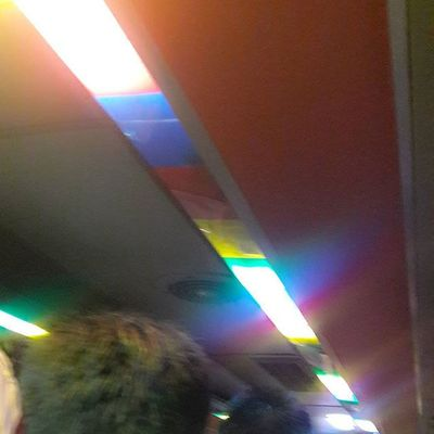 Now riding the Pride Bus... So love the lighting. Celebratepride PrideBus Rainbow Morningbliss 😊❤🌈