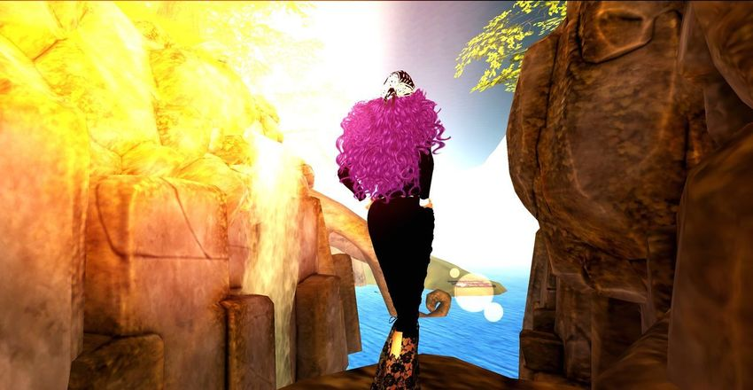 Sundays at Designing World Studios, Garden of Dreams, *G.O.D, Secondlife Mountain Peak Mountain View Mountain Secondlife Virtual World Traveler Rock Solid Rock - Object Nature Low Angle View One Person Rock Formation