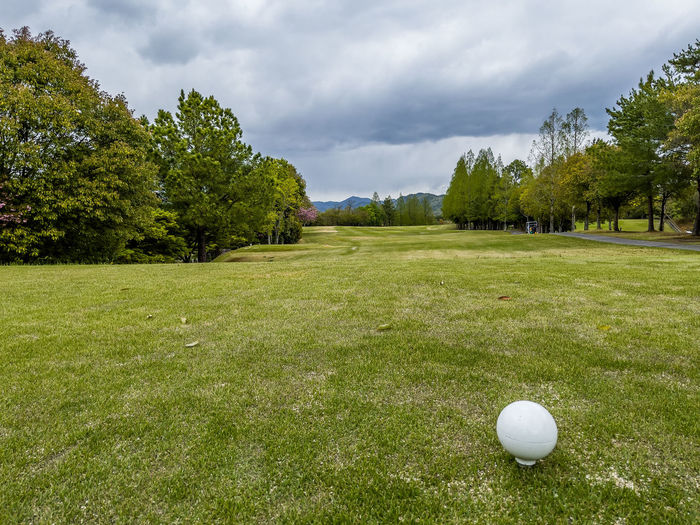 View of golf ball on grassy field against cloudy sky