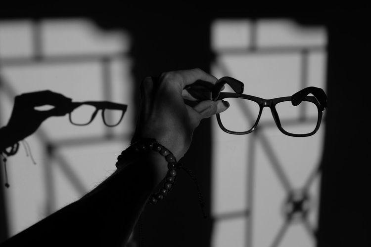 Glass Shadows & Lights Shadow Light Blackandwhite Human Hand Men Close-up Focus On Shadow Vision
