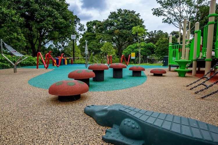"The Sound playground (?) 1 @ Marsiling Park, previously known as Woodlands Town Garden I was here for a short while, back in June 2018, before children appeared and started making ""music"" I did manage to play a bit though Sound Playground Crocodile Day No People Outdoor Play Equipment Park Playground Public Places"