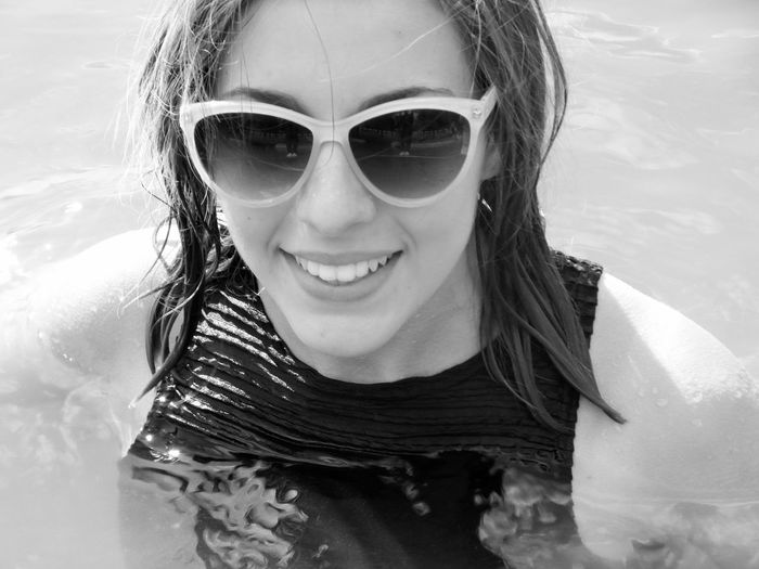 Last Summer Black And White Portrait Girl Lake Swimming Summertime Swimming In The Lake Clothed  Clothedswimming