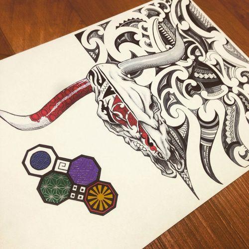 Tattoo Painting Handmade By Me Art Tribal Cattel Skull