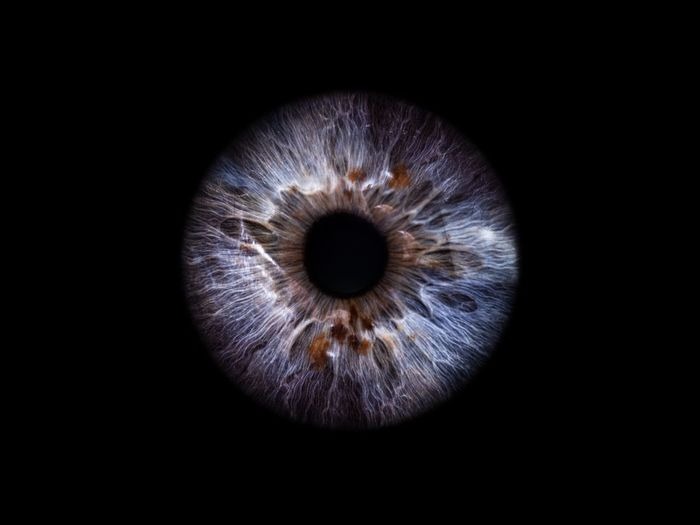 Close-up of human eye against black background