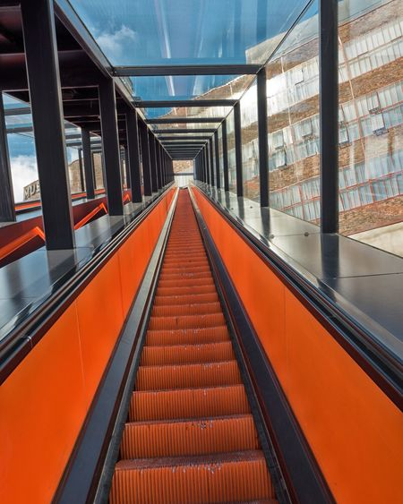 Empty escalator at zollverein coal mine industrial complex