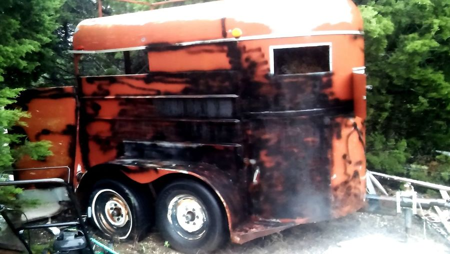 Horse Trailer Old Rusted Vintage Rural Scene Red Water Tire Red Wet Vehicle Trailer