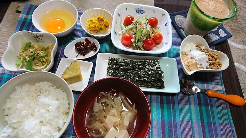 朝ごはん☆ Food And Drink Yummy Salad Japanese Food Soba Food Porn Smoothie Breakfast