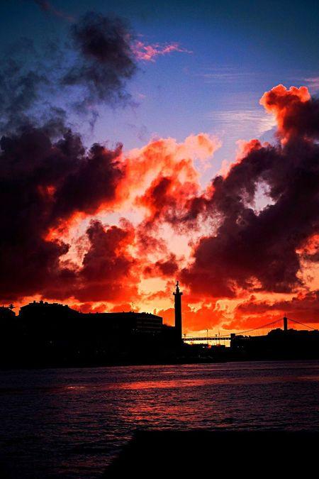Harbour View River November Sunset Goteborg Sunset Sky Built Structure Silhouette Architecture Cloud - Sky Building Exterior Orange Color Waterfront Sea