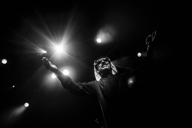 Omar Souleyman, Leuven. Omar Souleyman Syria  Singer  Artist Arts Culture And Entertainment The Week On EyeEm Stage - Performance Space Music Nightlife Concert Black And White Monochrome Photography Black And White Photography Entertainment Event Leuven Het Depot