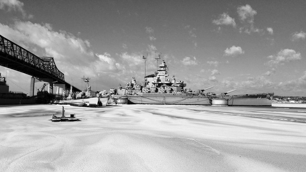 Battleship Cove. War Ship Maritime Museum Maritime Photography USS Massachusetts EyeEm Best Shots - Black + White Black And White Photography Black & White Monochrome Sky History Cloud - Sky Travel Destinations Day No People Beach