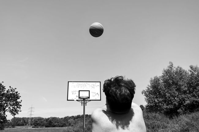 Action Ball Basketball Behind Blackandwhite Cool Day Friend Leisure Activity Lifestyles Low Angle View Monochrome Movement Nature Outdoors People Perfect Moment Photography Themes Playing Sky Sport Streetphotography Sun The Street Photographer - 2016 EyeEm Awards