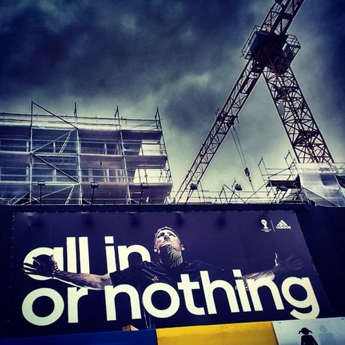 Earning their bold advertising promises! Well done Germany! Allinornothing Worldcup2014 Cranespotting