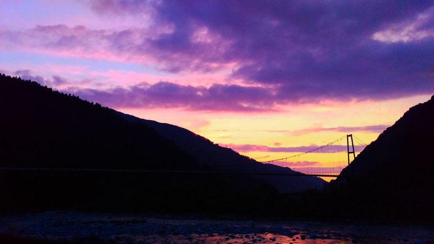 Nature Cloud Clouds And Sky Purple Gradation River Evening Mountain