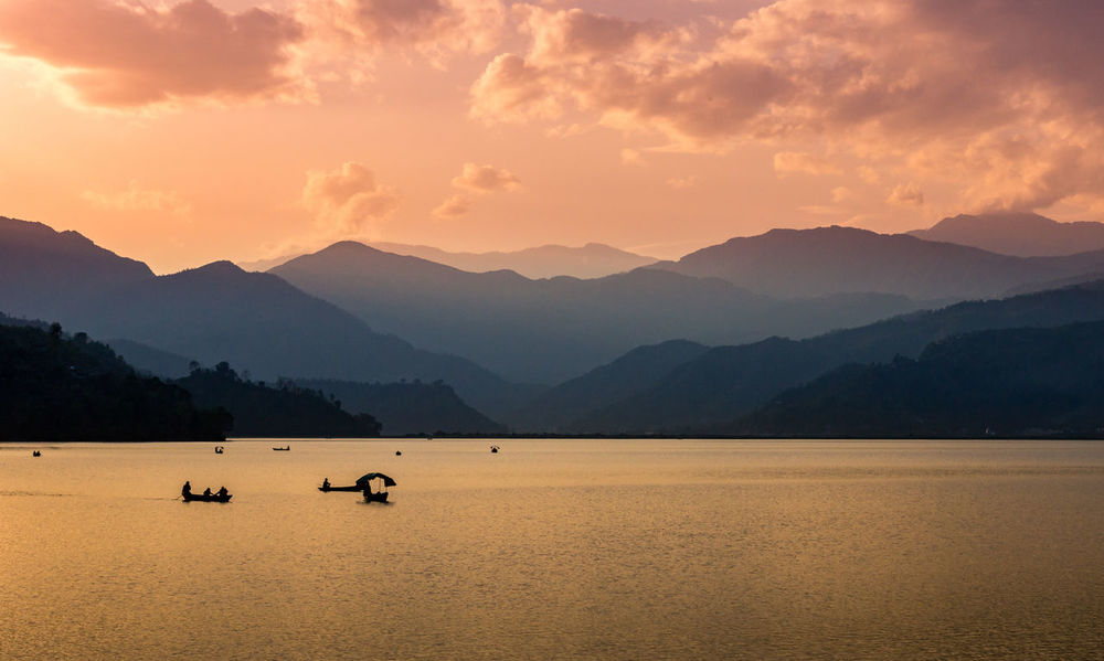 Pokhara Lakeside Annapurna Beauty In Nature Golden Hour Himalayas Idyllic Lake Lake View Mountain Mountain Range Nepal Non-urban Scene Orange Color Outdoors Pokhara Reflection Scenics Sunset Tourism Tranquil Scene Tranquility Travel Destinations Travel Photography Water