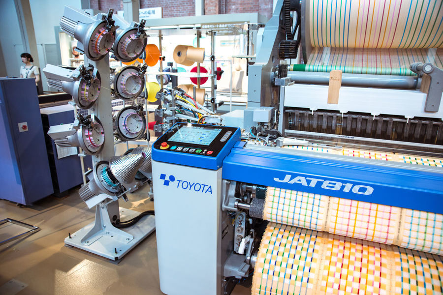 At the Toyota Museum in Nagoya, Japan Abundance Air Jet Machine Blue Cyber Mill Fabric Factory Focus On Foreground Large Group Of Objects Loom Manufacturing Selective Focus Tailored To You Textile Textile Industry Textile Machinery Weaving Loom Weaving Machine Ultimate Japan