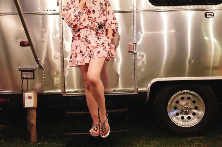 fashion vintage with campervan blackground Fashion EyeEm Selects Campervan Motorhome Camping Homecar Pose Selling Marketing Low Section Human Leg Women Females Leg High Heels Mini Dress Mini Skirt