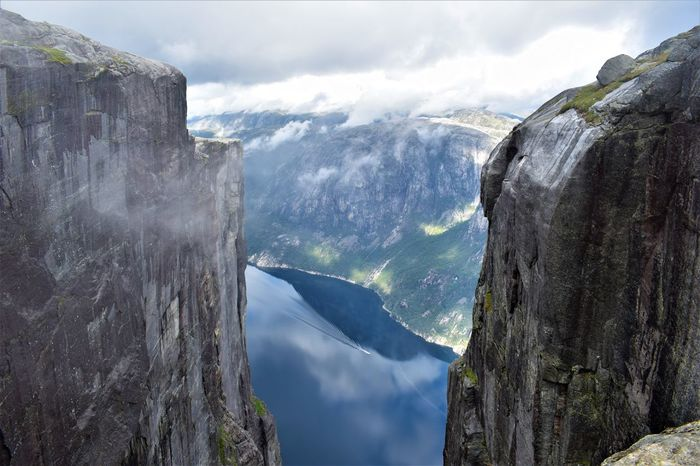Hiking Kjerag Kjeragbolten Lysefjord Norway Scandinavia Stavanger Traveling Advanture Beauty In Nature Couds And Sky Fjord Hiking Trail Hikingadventures Lysebotn Nature Outdoors Tranquility Travel Destinations
