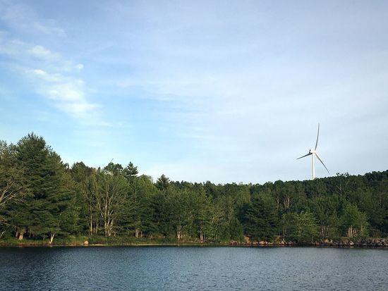 Windmill Landscape Lake Trees