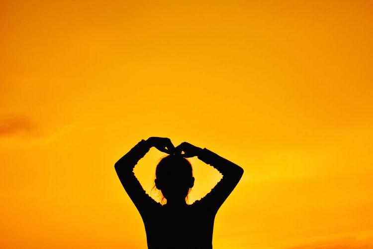 Arms Raised Girl Nature Orange Color Silhouette Sky Sunset