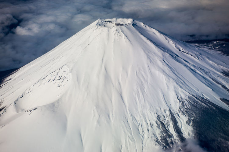 Scenic view of snowcapped volcano mountains against sky