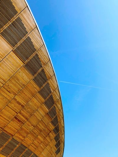 Taken under the velodrome in the Olympic Park, London. Low Angle View Sky Blue No People Built Structure Architecture Nature Sunlight Building Exterior The Architect - 2018 EyeEm Awards
