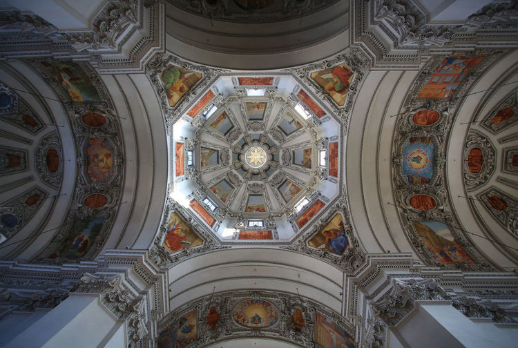 salzburg cathedral Salzburg Cathedral Architecture Built Structure Religion Place Of Worship Dome Art And Craft Low Angle View Indoors  Architecture And Art No People Design Arch Ornate Architectural Column Cupola