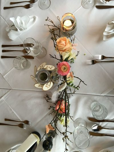 Table decorations at a wedding in Austria Banquet Bouquet Celebration Flower Flowers Food Food And Drink High Angle View Indoors  No People Party Roses Table Table Decoration Wedding