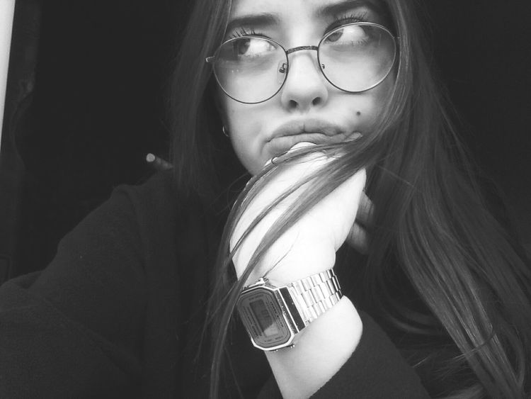 Long Hair Dont Care ✌ Hands Glasses Reflect Black And White Friday