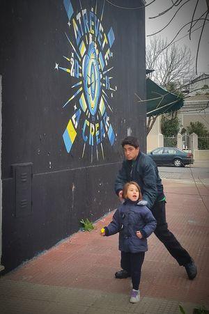Two Kids Brother & Sister My Kid Wall Art Street Streetphotography Graffiti & Streetart Graffiti Collection Argentina Photography Graffitti Graffitiart Graffiti Wall Graffiti Art Kids Photography Kids Playing