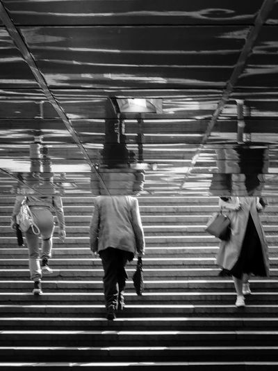 Rear view of women walking on staircase