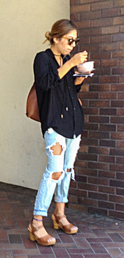 Candid Casual Clothing Day Frozenyogurt Full Length Outdoors Ripped Jeans Streetphotography
