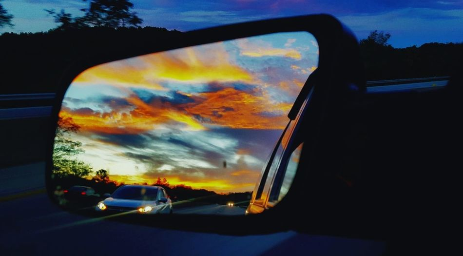 Car Cloud - Sky Sunset Transportation Outdoors Rearviewmirrorshot MyPhotography Dusk Photography
