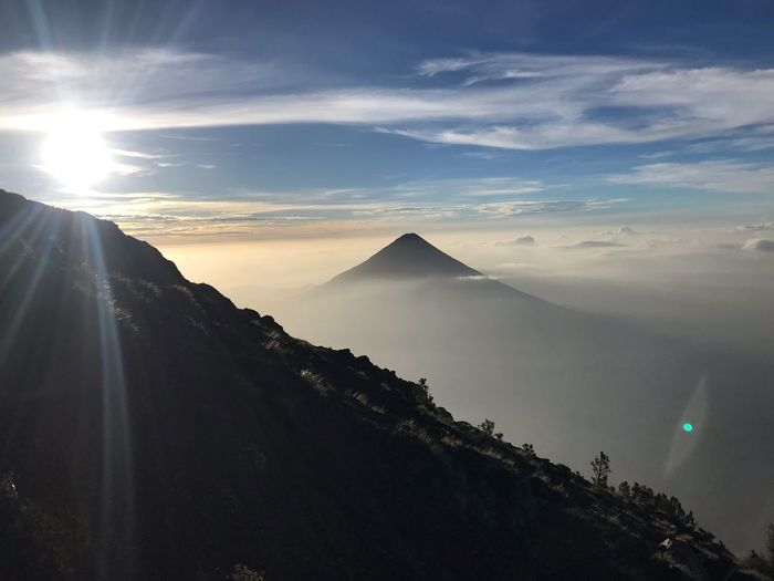 Vulcano Sunrise Acatenango Sunrise Vulcano Sky Mountain Beauty In Nature Scenics - Nature Nature Environment Travel Sunlight Landscape Cloud - Sky Outdoors Sun