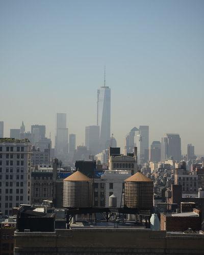 City skyline against clear sky