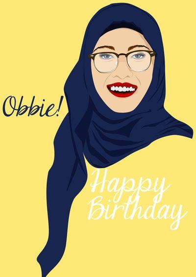 Hijabstyle  Vector Art Illustrator Graphic Design Happy Birthday! Potrait