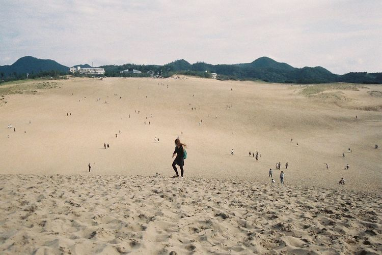 Sand Dune Sand Landscape People Girl Breeze Windy View Clouds Cloudy Cloudscape Photography Photo Photooftheday Film Photography Film Filmisnotdead 35mm Film Outdoors Nature EyeEm Nature Lover EyeEmBestPics EyeEm Best Edits EyeEm Best Shots Japan