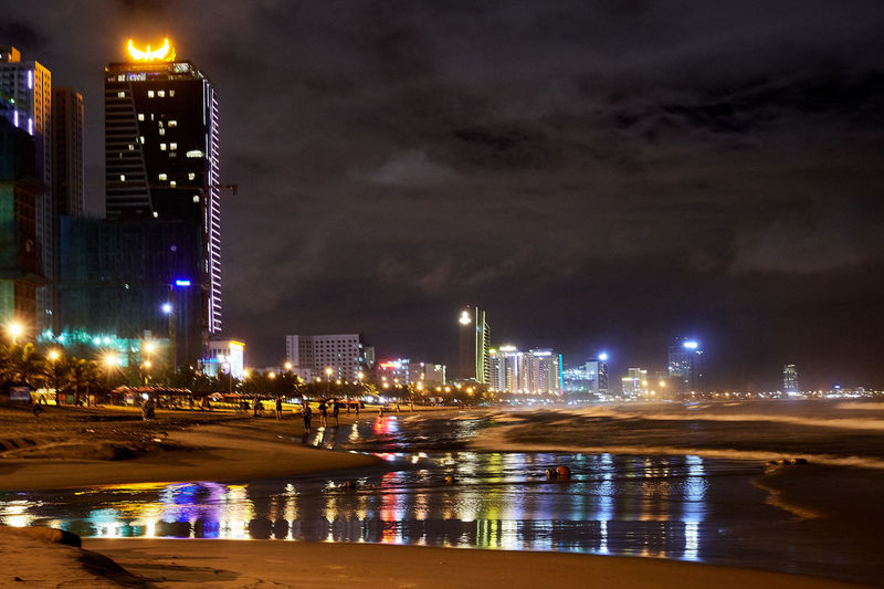 Nightphotography Vietnam Architecture Building Exterior Built Structure City City Life Cityscape Danangbeach Downtown District Illuminated Modern Nature Night No People Outdoors Sea Sky Skyscraper Travel Destinations Urban Skyline Water Waterfront