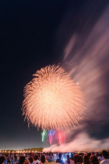 Firework display at night