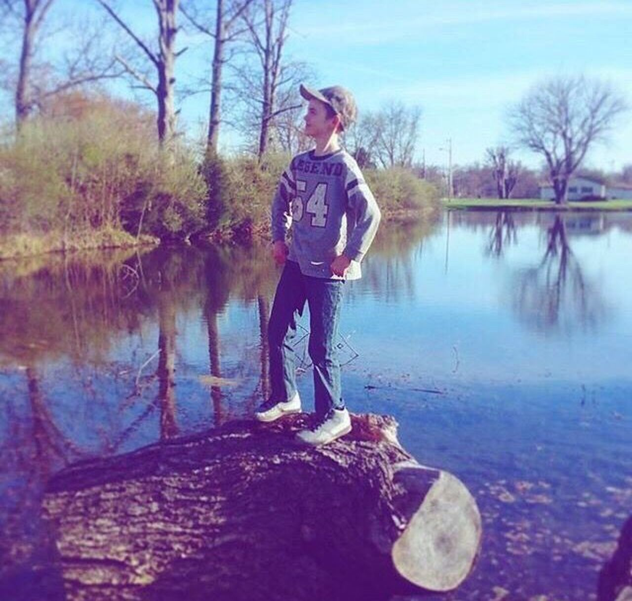 full length, one person, water, standing, casual clothing, reflection, lake, day, outdoors, real people, young adult, nature, young women, one woman only, only women, blond hair, tree, adult, people, sky, one young woman only, adults only, beauty in nature