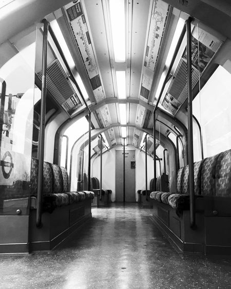 London Underground Undergroundtrains Architectural Column Architecture Built Structure Day Empty Illuminated Indoors  LondonTube No People The Way Forward Train Transportation Vehicle Seat