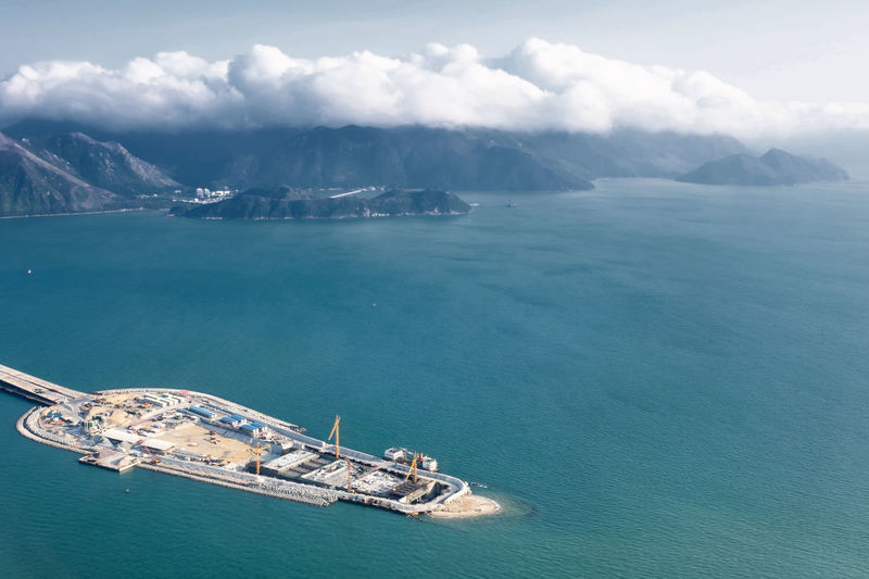 Hong Kong HZMB Hong Kong–Zhuhai–Macau Bridge Construction Site Bridge Water Transportation Nautical Vessel Sea Cloud - Sky Beauty In Nature Mode Of Transportation Scenics - Nature Sky Mountain Day Nature Waterfront Travel No People High Angle View Tranquil Scene Tranquility Outdoors Turquoise Colored Sailboat Hong Kong
