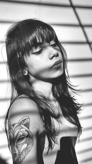 Enjoying The Sun Relaxing Photography Black & White Autoportrait Tattoo Darkness And Light